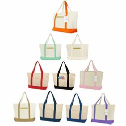 """DALIX 22"""" Large Cotton Canvas Zippered Shopping Tote Grocery"""