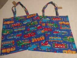 Handmade Cloth Train Totes Lot of 2 Grocery Shopping Bags Fo