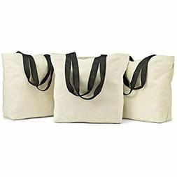 """Fit """" Fresh Large Canvas Grocery Totes, Set Of 3, Durable, C"""
