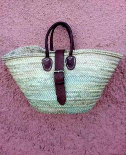 French Basket large with  Buckle strap market bag beach bag