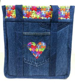 Handmade Grocery Tote Bag from Recycled Denim