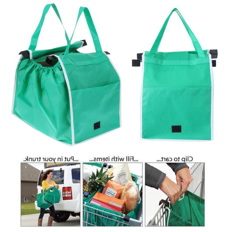 1pc Foldable Large Shopping Bags Trolley Clip-To-Cart Grocer