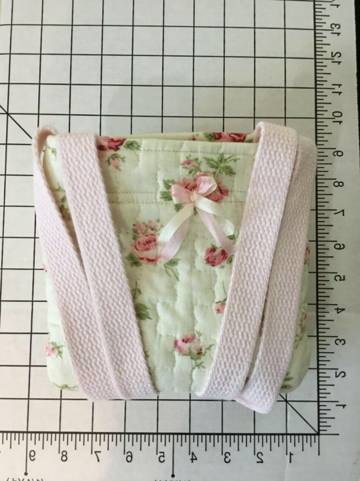 Handmade Cotton~Quilted Shop with Pink Roses Washable