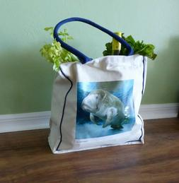 Manatee Canvas Grocery & Shopping Tote Bag - 10 oz heavy w G