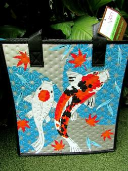 Paper Garden NWT Isulated Med Blue Turquoise Koi Reusuable H