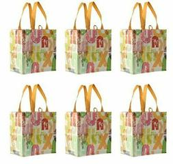 Earthwise Reusable Grocery Bags Laminated Totes with Alphabe
