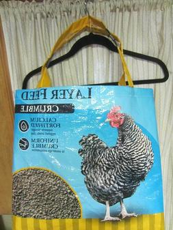 UPCYCLE~BLACK & WHITE CHICKEN/HEN~CHICKEN RECYCLED FEED BAG~